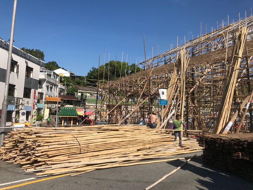 碼頭旁天后宮的竹棚架搭建
